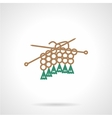 Flat line icon for knitting vector image