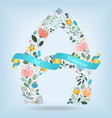floral letter a with blue ribbon vector image vector image