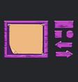 game ui kit template violet wooden menu vector image vector image