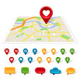 generic city map location and communication icons vector image