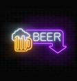 glowing neon beer pub signboard in rectangle vector image vector image