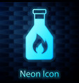 glowing neon ketchup bottle icon isolated on brick vector image vector image