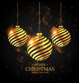golden christmas balls on black background merry vector image