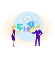 guy and girl composing word team of puzzle pieces vector image