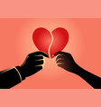 man and woman hand holding each part heart vector image vector image