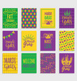 mardi gras hand lettering greeting cards vector image