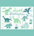meet dinosaurs - flat design style vector image vector image