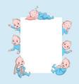 newborn children banner cute cartoon baframe vector image vector image