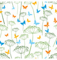 pattern of butterflies and umbellate plants vector image