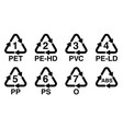 plastics recycling symbol recycle triangle with vector image