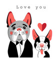 portrait of lovers of dogs vector image vector image