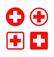 red cross symbol round and square style vector image vector image