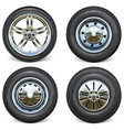 retro and modern car wheels side view vector image vector image