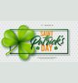 saint patricks day design with clover leaf on vector image vector image