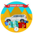summer holiday poster with travelling car road vector image vector image
