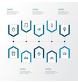 transport outline icons set collection of balloon vector image