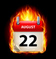 twenty-second august in calendar burning icon on vector image vector image