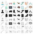 veterinary clinic set icons in cartoon style big vector image vector image