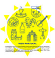 visit portugal concept banner with icons in line vector image
