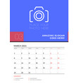 wall calendar planner template for march 2021 vector image vector image