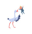 white stork throws baby boy in the air joyful vector image vector image