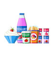 yogurt or milky dessert set vector image vector image