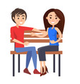 young couple sits on wooden bench vector image vector image