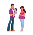young family and toddler girl man pregnant woman vector image