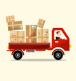 delivery service red car with paper boxes and vector image