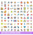 100 child center icons set cartoon style vector image vector image