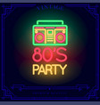 80s party with boombox cassette player neon light vector image