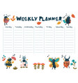 a weekly planner with cute insect musicians vector image