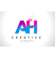 ah a h letter logo with shattered broken blue vector image vector image