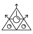 alchemy triangle icon outline style vector image vector image