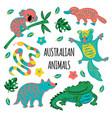 australian animals cartoon forest vector image