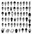black and white ice cream icons vector image