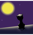 black cat on the roof looking at moon vector image vector image