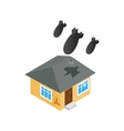 Bombing of house icon isometric 3d style vector image