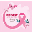 breast cancer awareness month beautiful butterfly vector image vector image