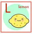 cartoon fruit alphabet flashcard l is for lemon vector image