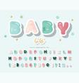 cartoon paper cutout font cute alphabet for girls vector image vector image