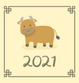 chinese new year 2021 cute ox buffalo cow zodiac vector image