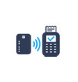 contactless payment card and pos terminal icon vector image