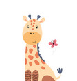cute giraffe and flying butterfly vector image vector image