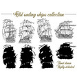 design set with old sailing ships vector image vector image