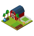 farm scene with barn and crops in 3d design vector image vector image
