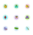 Fishing icons set pop-art style vector image vector image