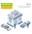 flat 3d isometric police department and city map vector image vector image