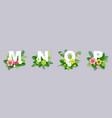 floral alphabet paper cut m vector image vector image