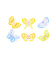 flying butterflies collection blue and yellow vector image vector image
